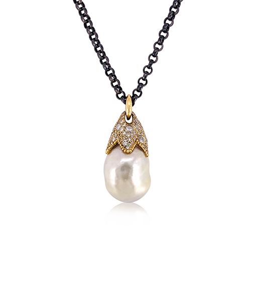 Erica Molinari Pearl and Diamond Pendant