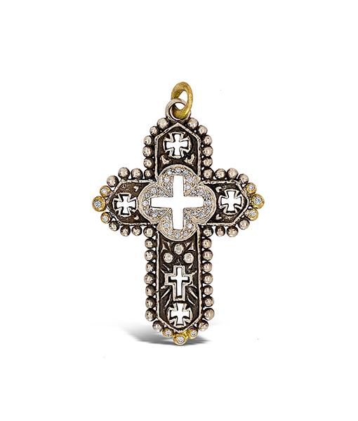 Erica Molinari Quatrefoil Cross Diamond Pendant