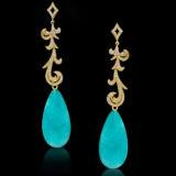 Long Diamond Earrings with 37.51 Carat Amazonite Drops