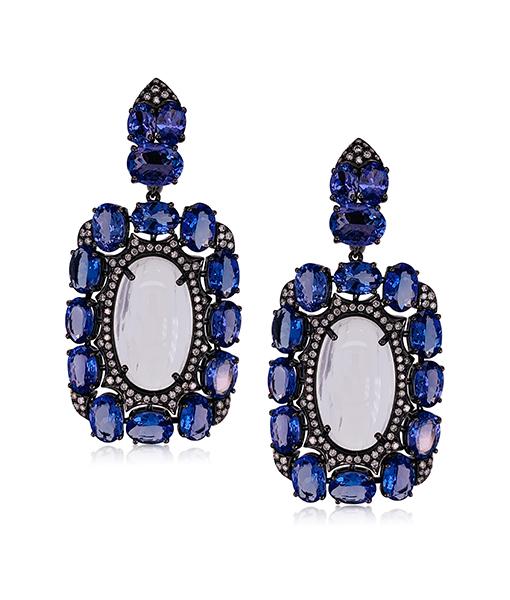 Etho Maria Tanzanite Moonstone Earrings Diamonds