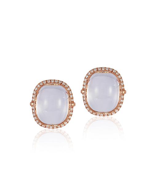 Goshwara Moon Quartz Diamond Earrings