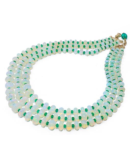 Goshwara Opal Emerald Bead Necklace