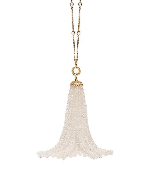 Goshwara Moon Quartz Tassel Pendant Diamond