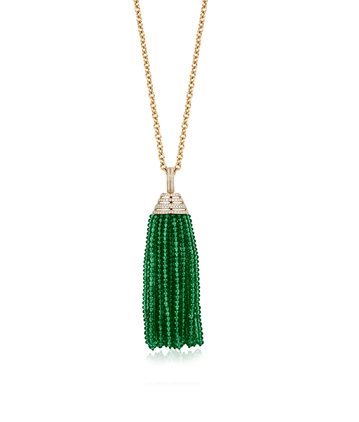 Goshwara Emerald Tassel Necklace Diamond