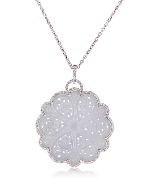 Goshwara Carved Jade Flower Pendant Diamonds