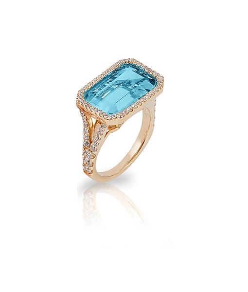 Goshwara Blue Topaz Diamond Ring