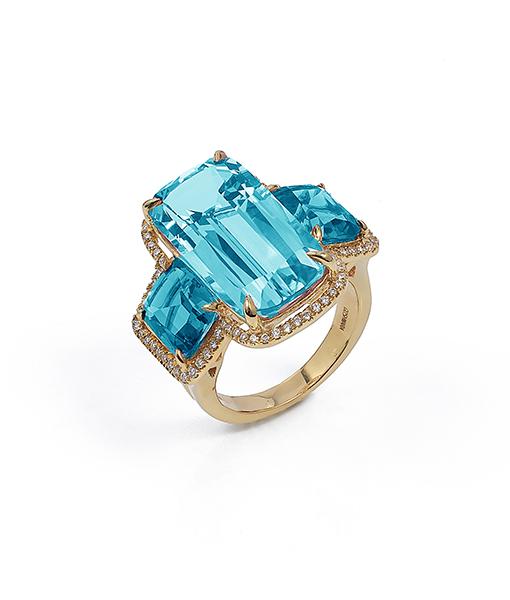 Goshwara Blue Topaz Ring Diamonds