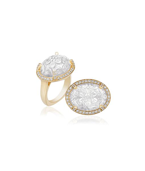 Goshwara Moon Quartz Diamond Ring
