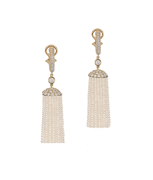 Goshwara Moon Quartz Diamond Tassel Earrings