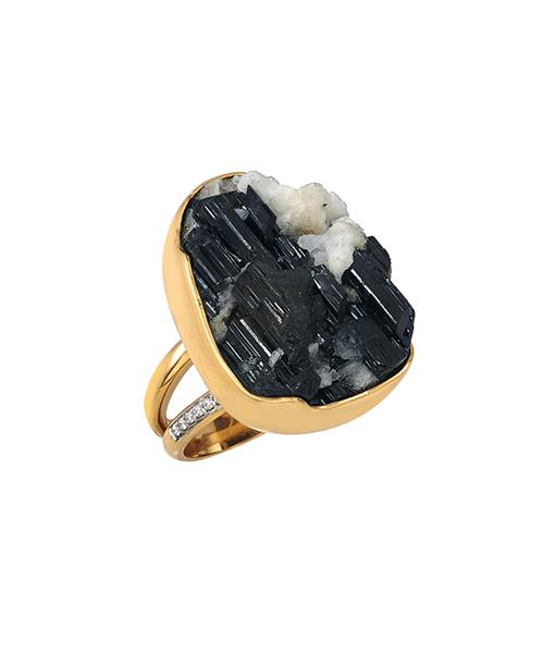 Jorge Adeler Black Tourmaline Diamond Ring