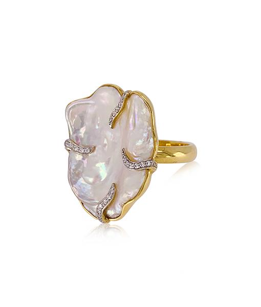 Jorge Adeler Fresh Water Pearl Diamond Ring