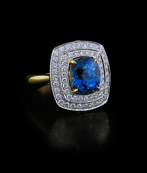 3.39 Carat Sapphire Ring with Diamonds by Krementz