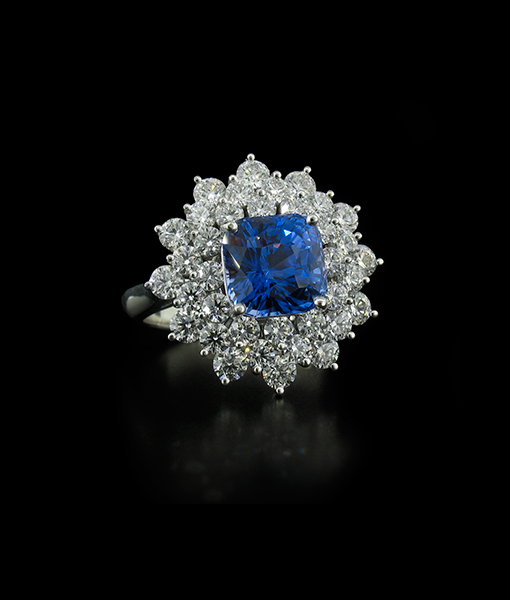 Flowering Sapphire and Diamond Ring