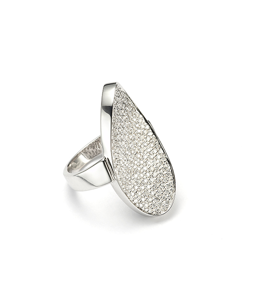 Mattioli Oval Pave Ring with White Diamonds