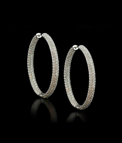 Oval Inside Out Diamond Hoop Earrings
