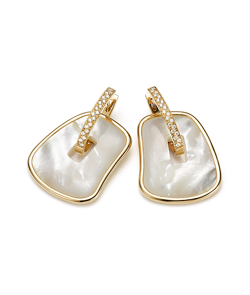 Mattioli Puzzle Diamond Hoops and Mother of Pearl Drops - Large
