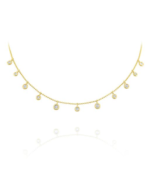 Kc 9 stone Diamond Spacing Drops necklace