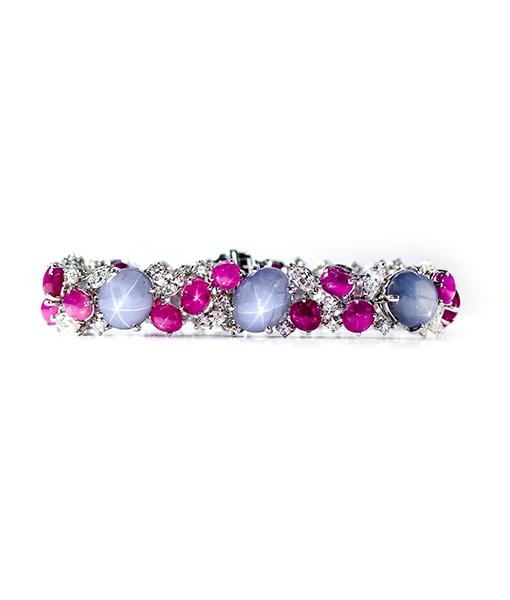Oscar Heyman Star Blue Sapphires and Ruby Bracelet with Diamonds