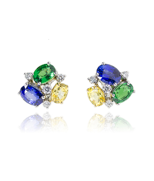 Oscar Heyman Multi Sapphire Tsavorite and Diamond Earrings
