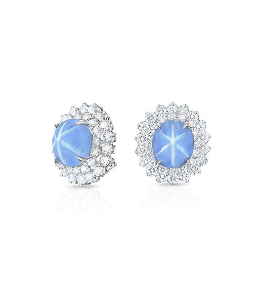 Oscar Heyman Blue Star Sapphire and diamond Earrings