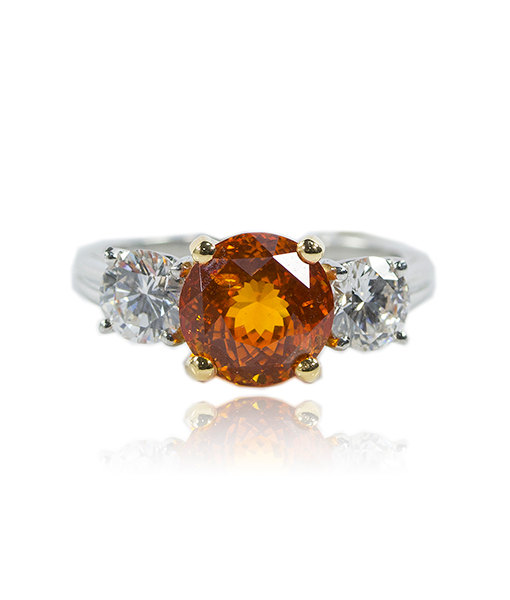 Oscar Heyman Orange Sapphire and Diamond Ring