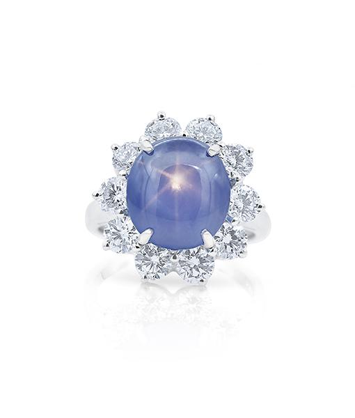 Oscar Heyman Blue Star Sapphire and Diamond Ring