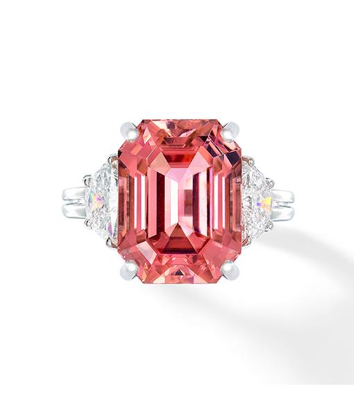 Oscar Heyman Padparadscha Sapphire and Diamond Ring