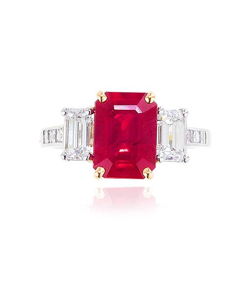 Oscar Heyman Burmese Ruby and Diamond Ring