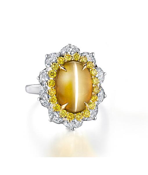 Oscar Heyman Cat's Eye Chrysoberyl and Diamond Ring