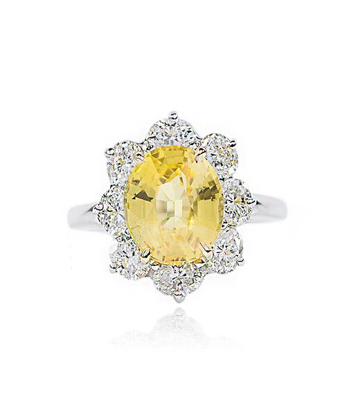 Oscar Heyman Yellow Sapphire and Diamond Ring