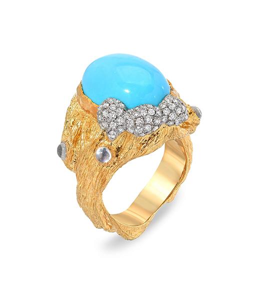 Victor Velyan Turquoise & Diamond Ring