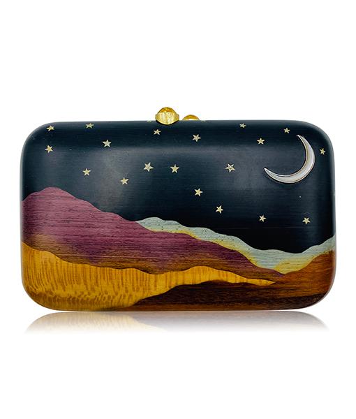 Silvia Furmanovich Marquetry Desert Moon Stars Clutch Light Brown Diamonds Citrine Clasp
