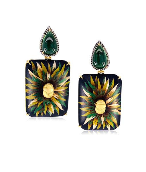 Silvia Furmanovich Green Tourmaline Diamond Earrings