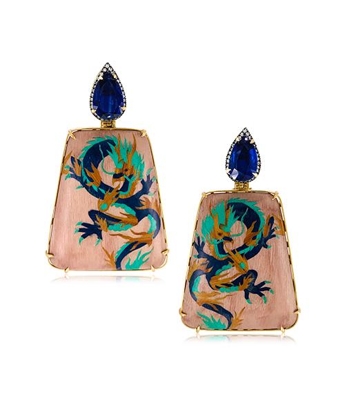 Silvia Furmanovich Dragon Marquetry Earrings Blue Sapphires Diamonds