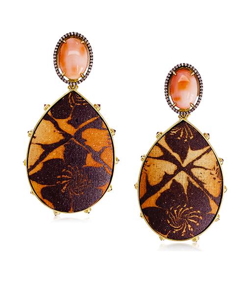 Silvia Furmanovich Ceramic Earrings Peau D'angel Coral Sapphires Diamonds