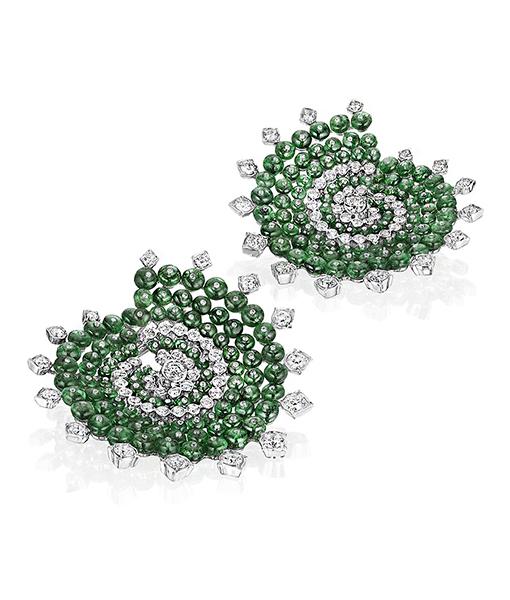 Siegelson Emerald Diamond Spiral Hoop Earrings