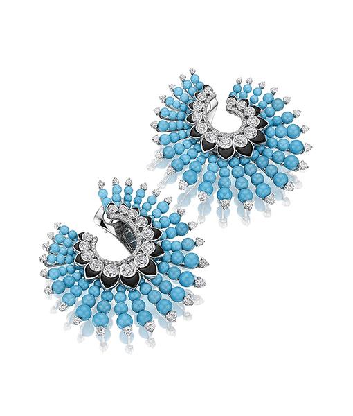 Siegelson Turquoise, Diamond Onyx Spiral Hoop Earrings