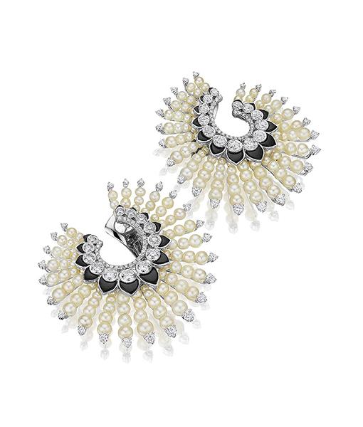 Pearl, Diamond Onyx Spiral hoop Earrings