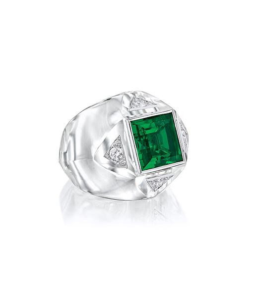 Siegelson Rock Crystal Emerald Diamond Ring