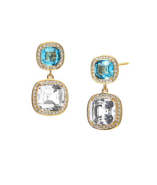 Syna Earrings Limited Edition Blue Topaz and Rock Crystal Cushion Earrings