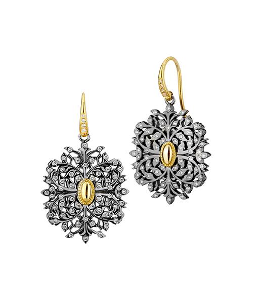 Syna Oxidized silver earrings