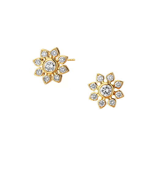 Syna Yellow Gold Mogul flower studs with champagne Diamonds