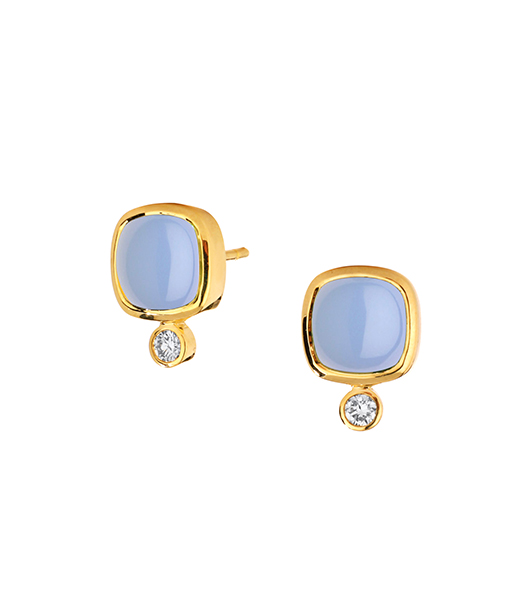 Syna Limited Edition Blue Chalcedony Sugar Loaf Earrings