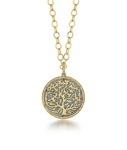 Syna Oxidized Silver Mogul Tree of Life Pendant with champagne diamonds