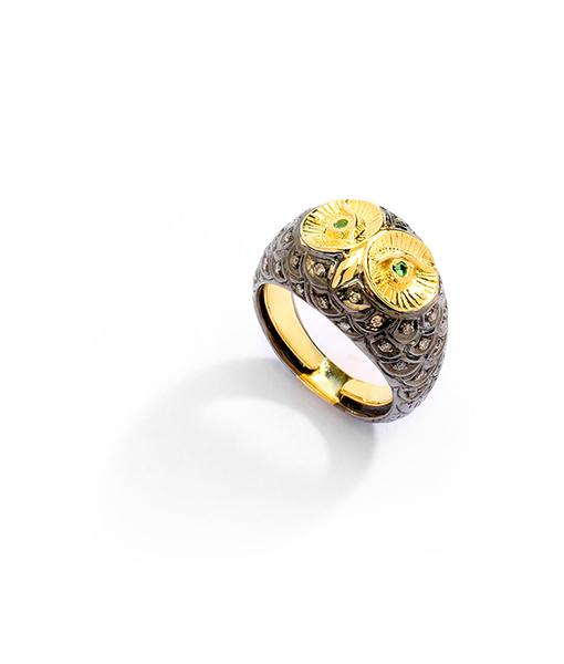 Syna Oxidized Owl Ring