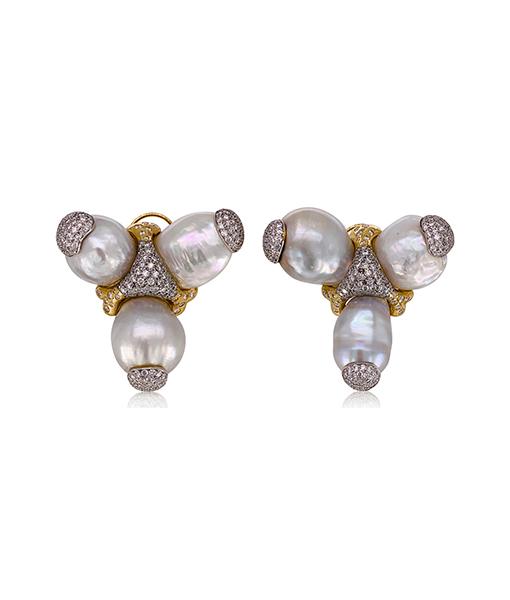 Tony Duquette Pearl Diamond Earrings