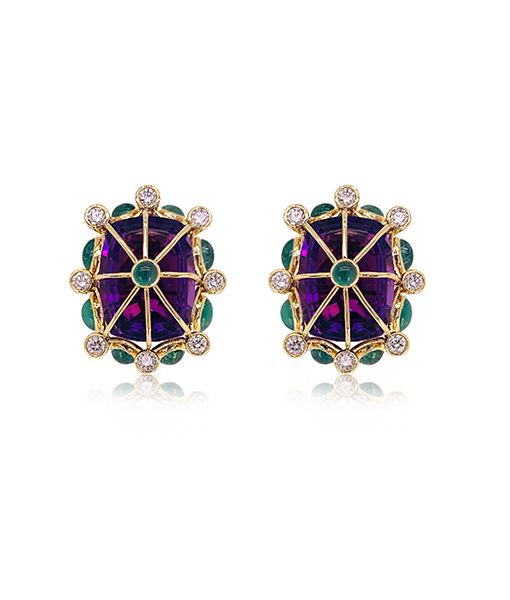 Tony Duquette Amethyst Emerald Diamond Earrings
