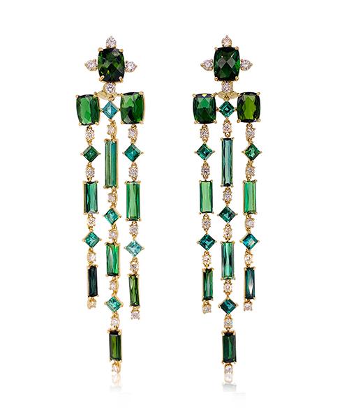 Tony Duquette Tourmaline and Diamond Earrings
