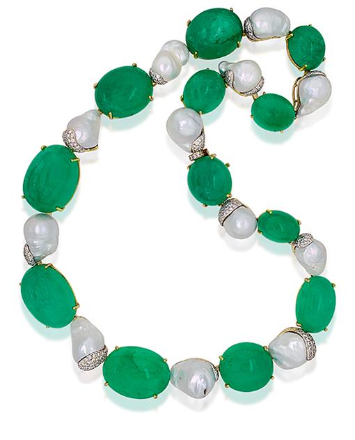 Tony Duquette Emerald Pearl Diamond Necklace