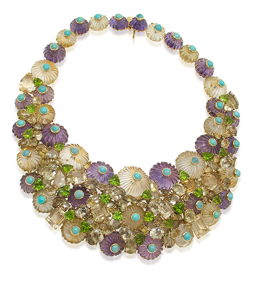 Tony Duquette Citrine Amethyst Peridot Turquoise Necklace